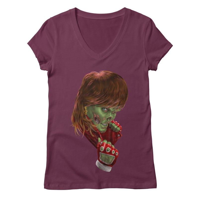 Didn't Die in '85 (eighties zombie) Women's V-Neck by Ayota Illustration Shop