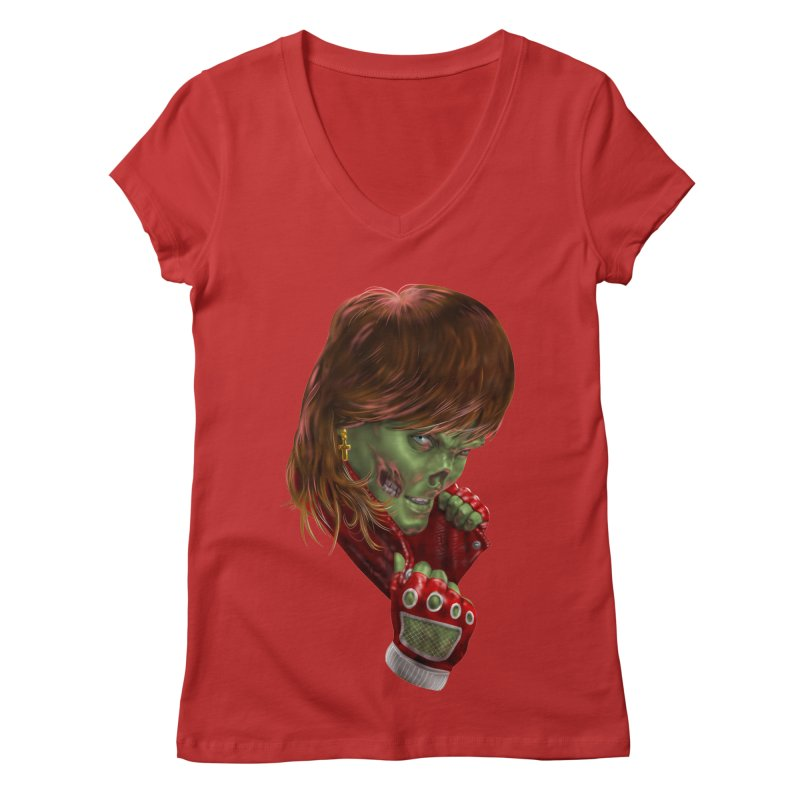 Didn't Die in '85 (eighties zombie) Women's V-Neck by Ayota Illustration Shop