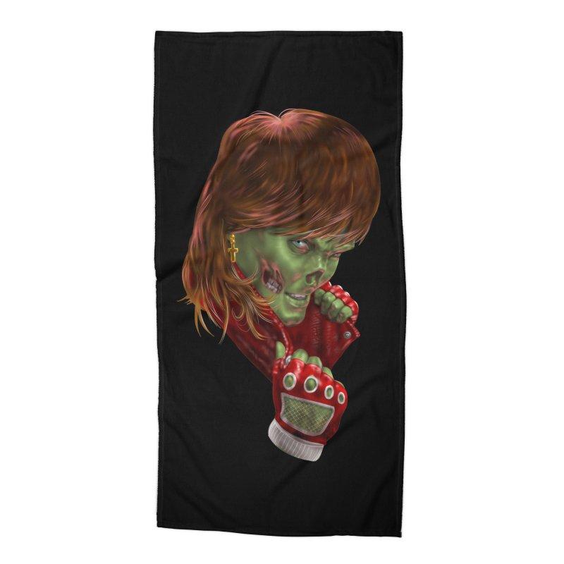 Didn't Die in '85 (eighties zombie) Accessories Beach Towel by Ayota Illustration Shop