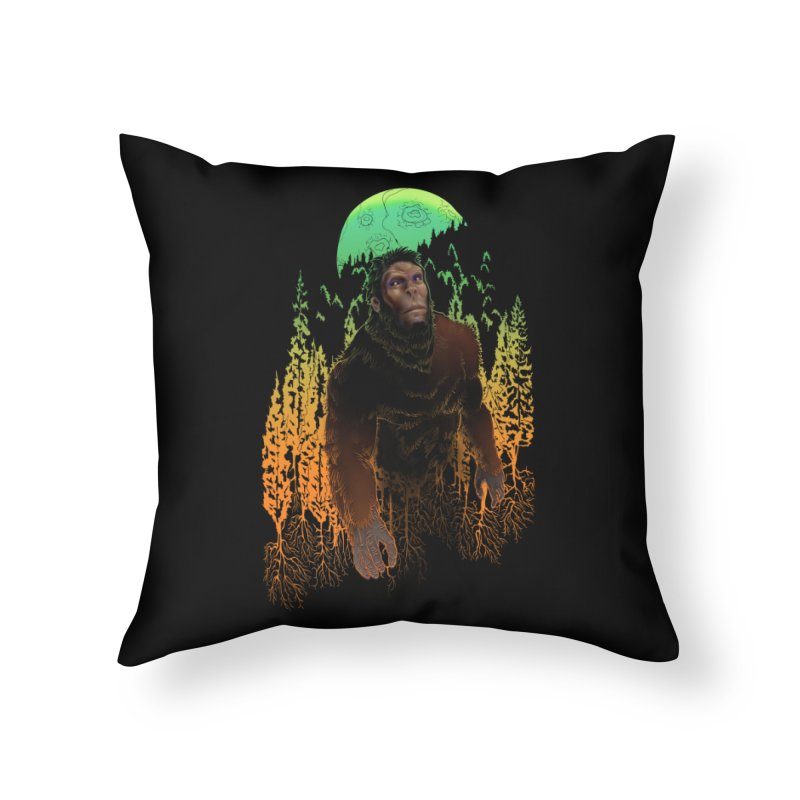 Sasquatch Home Throw Pillow by Ayota Illustration Shop