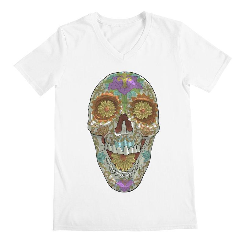 Flower Skull Men's V-Neck by Ayota Illustration Shop
