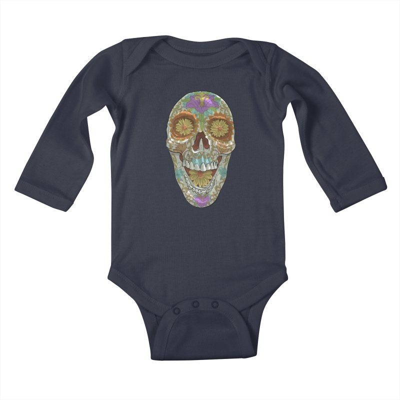 Flower Skull Kids Baby Longsleeve Bodysuit by Ayota Illustration Shop