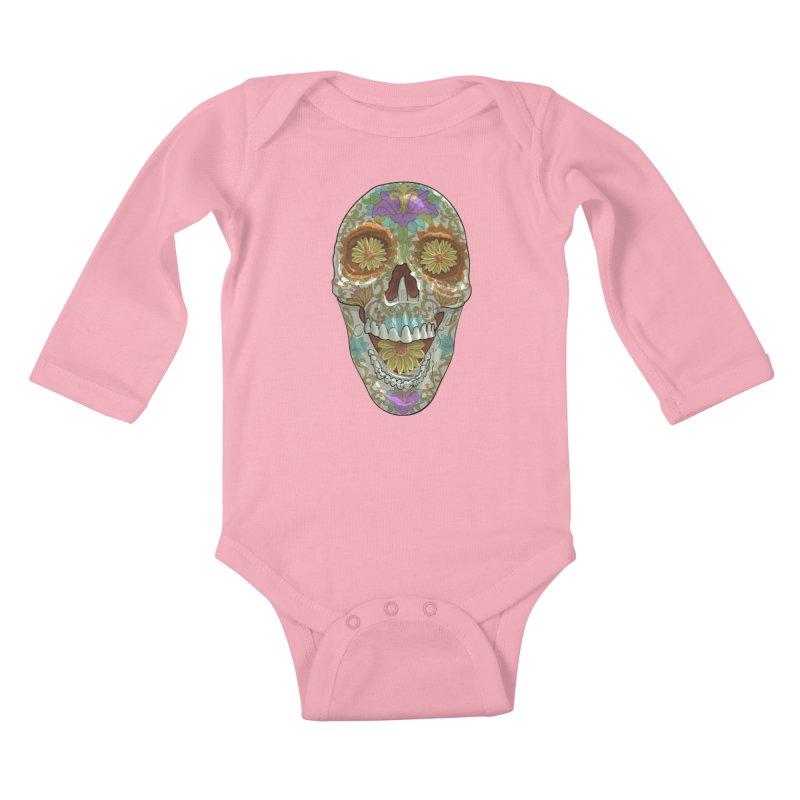 Flower Skull Kids Baby Longsleeve Bodysuit by Ayota Illustration Shop