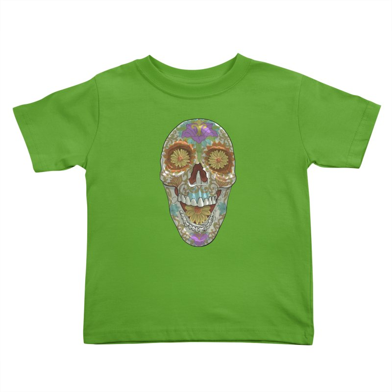 Flower Skull Kids Toddler T-Shirt by Ayota Illustration Shop