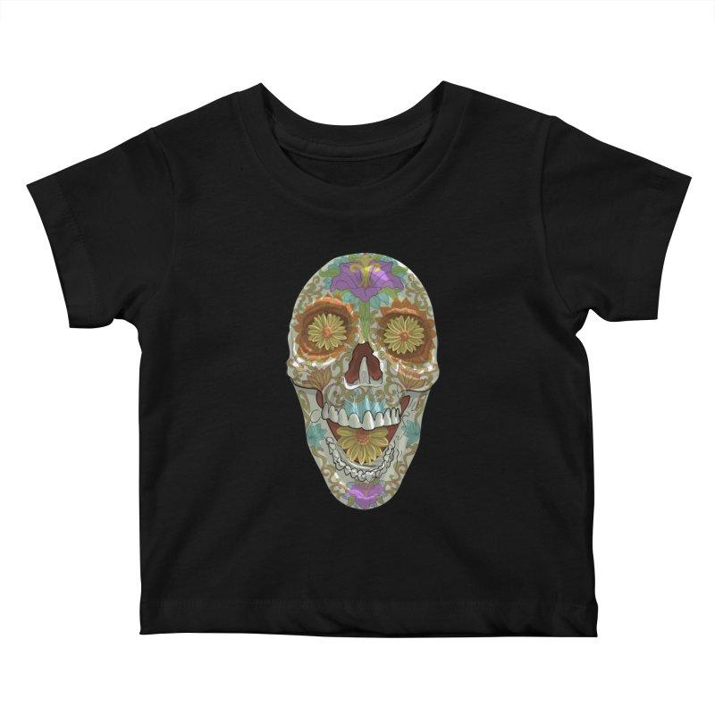 Flower Skull Kids Baby T-Shirt by Ayota Illustration Shop