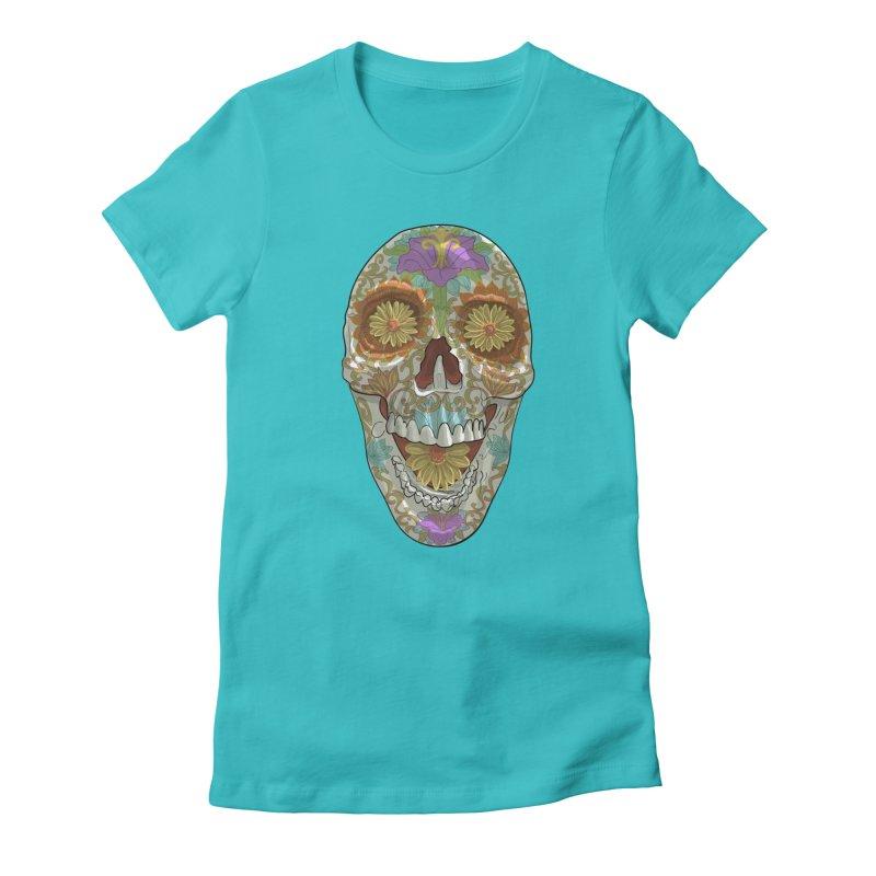 Flower Skull Women's T-Shirt by Ayota Illustration Shop
