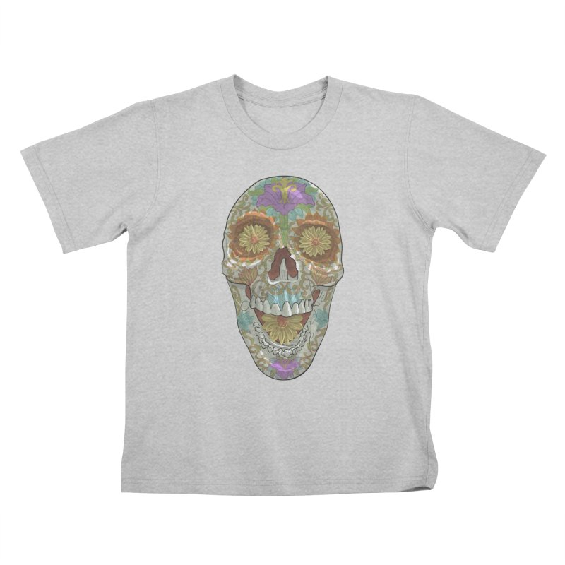 Flower Skull Kids T-Shirt by Ayota Illustration Shop