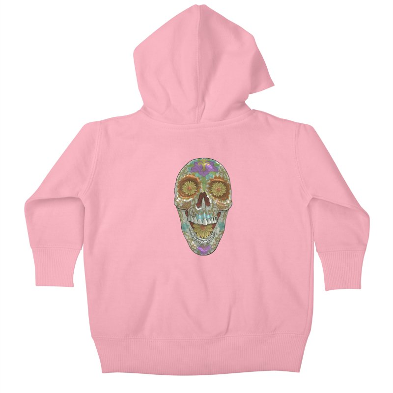 Flower Skull Kids Baby Zip-Up Hoody by Ayota Illustration Shop