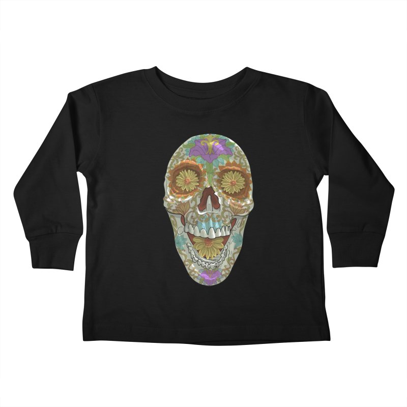 Flower Skull Kids Toddler Longsleeve T-Shirt by Ayota Illustration Shop