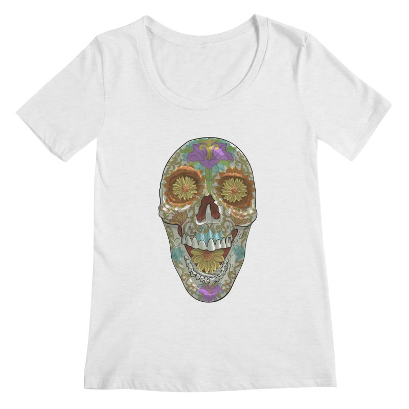 Flower Skull Women's Scoop Neck by Ayota Illustration Shop