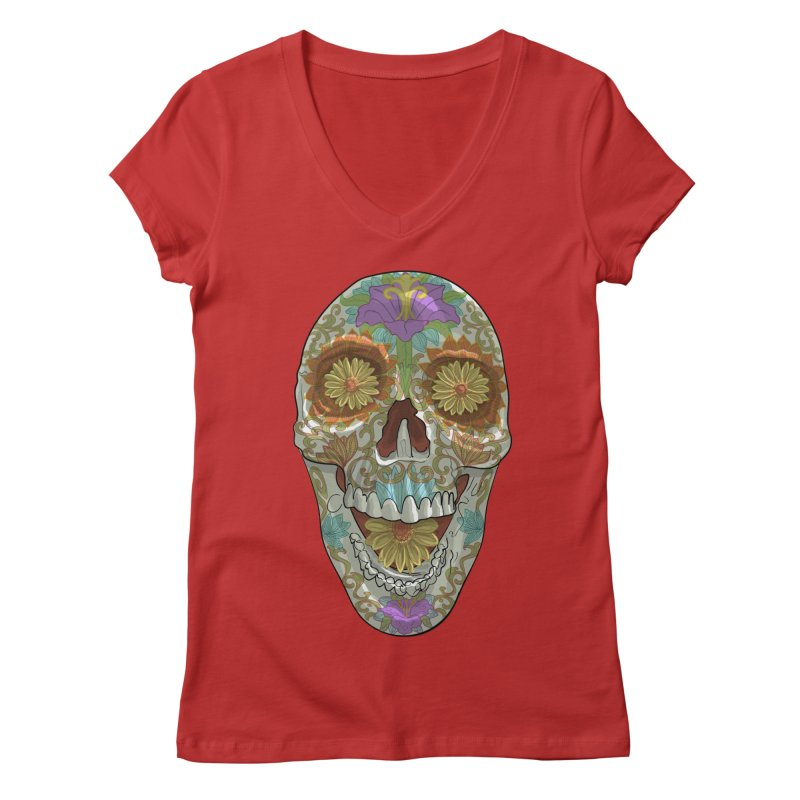 Flower Skull Women's V-Neck by Ayota Illustration Shop