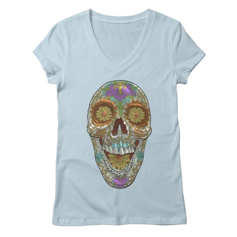 Flower Skull Women's V-Neck by Ayota Illustration Shop