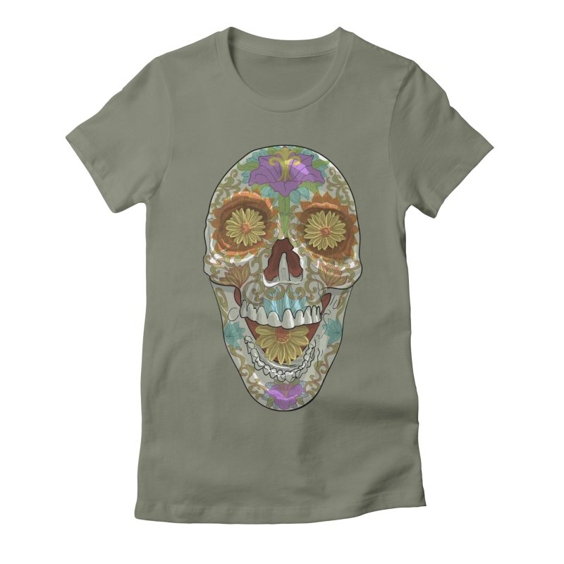 Flower Skull Women's T-Shirt by Ayota Illustration Shop