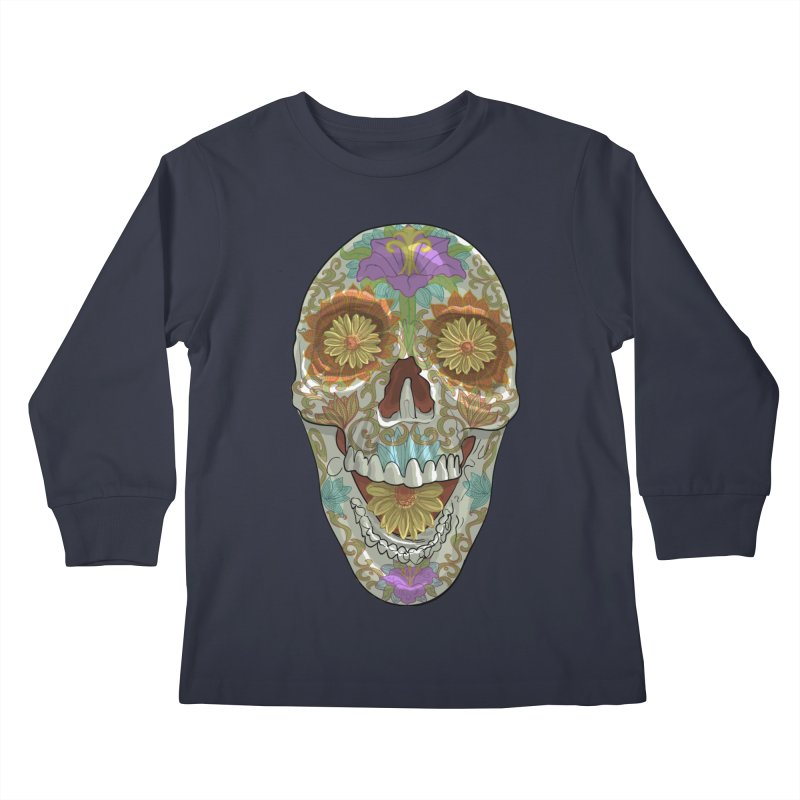 Flower Skull Kids Longsleeve T-Shirt by Ayota Illustration Shop