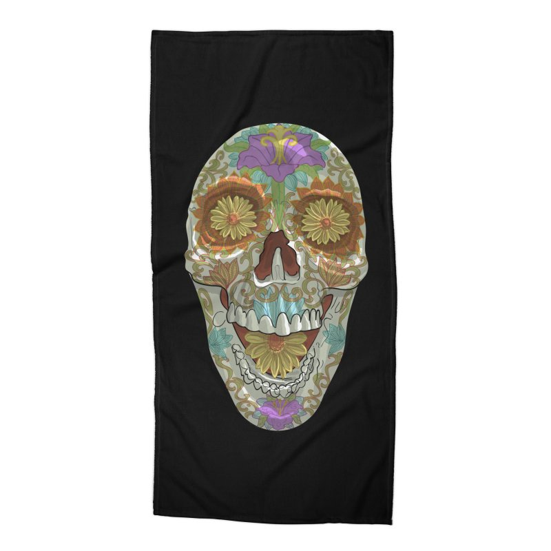Flower Skull Accessories Beach Towel by Ayota Illustration Shop