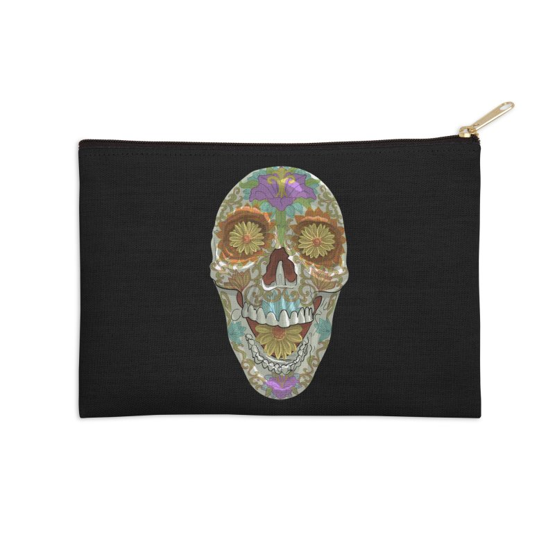 Flower Skull Accessories Zip Pouch by Ayota Illustration Shop