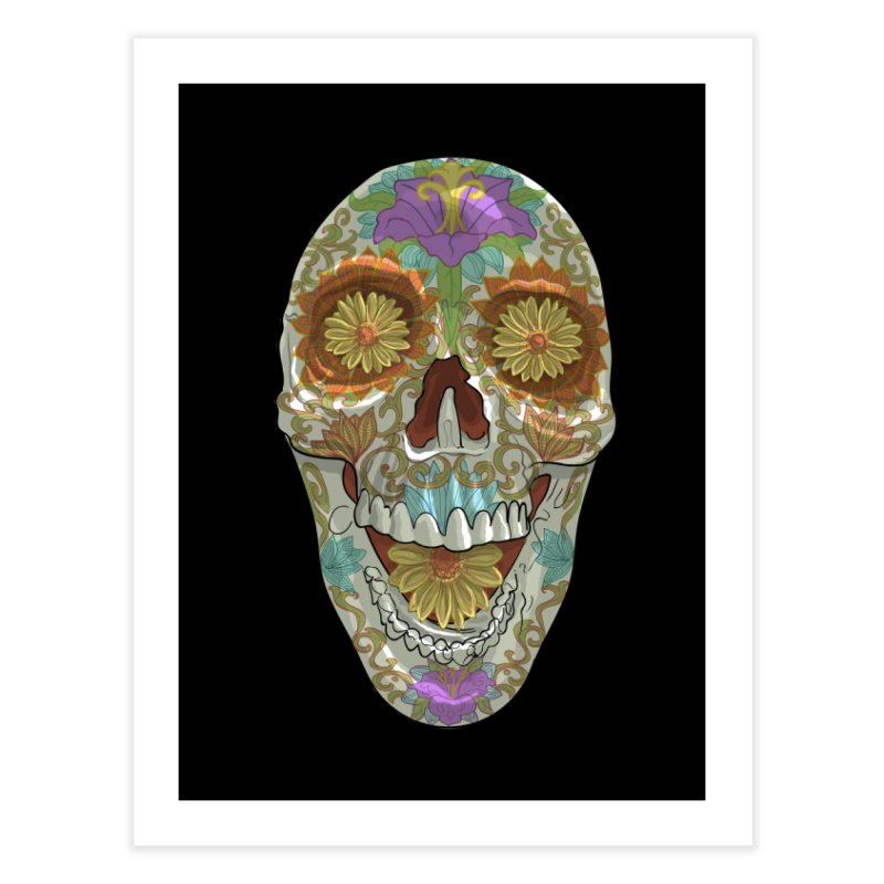 Flower Skull Home Fine Art Print by Ayota Illustration Shop
