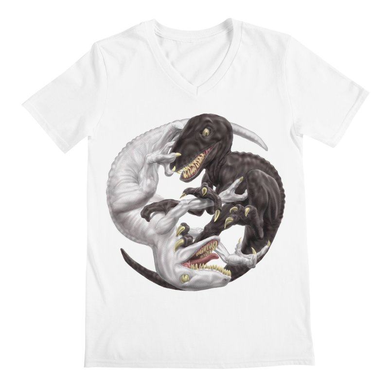 Yin Yang Raptors Men's Regular V-Neck by Ayota Illustration Shop