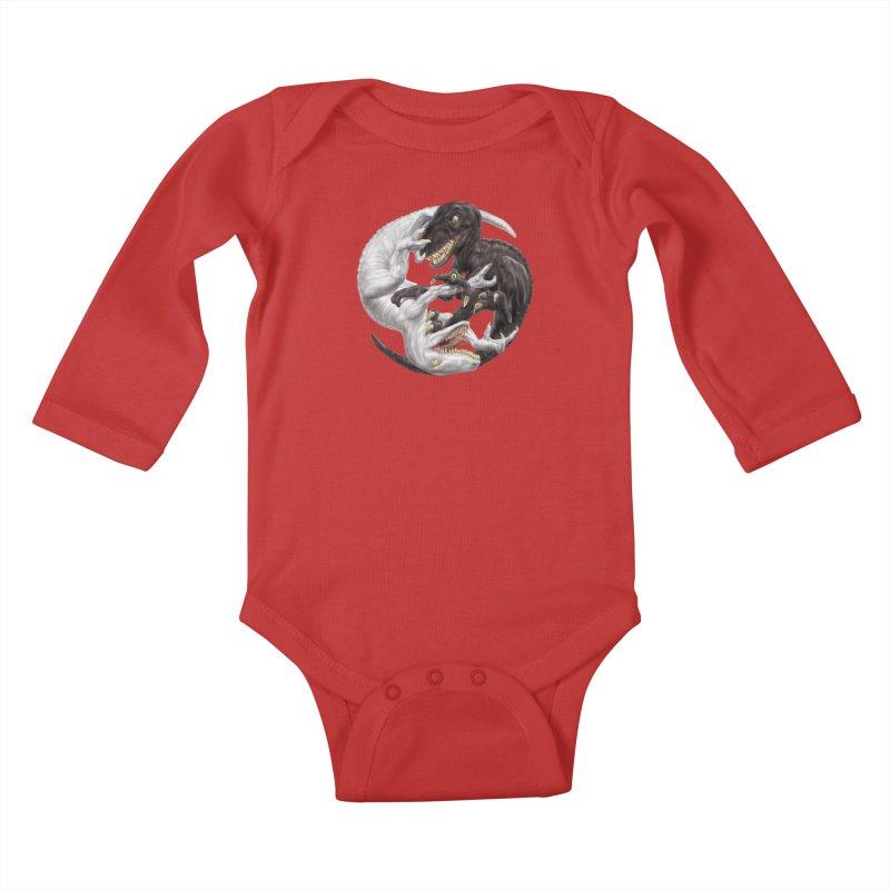 Yin Yang Raptors Kids Baby Longsleeve Bodysuit by Ayota Illustration Shop