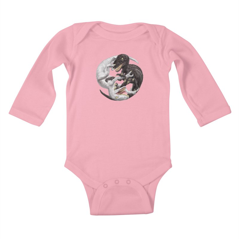Yin Yang Raptors Kids Baby Longsleeve Bodysuit by Ayota Illustration Shop