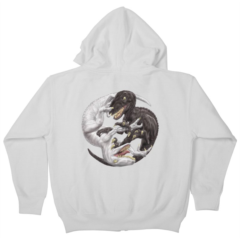 Yin Yang Raptors Kids Zip-Up Hoody by Ayota Illustration Shop