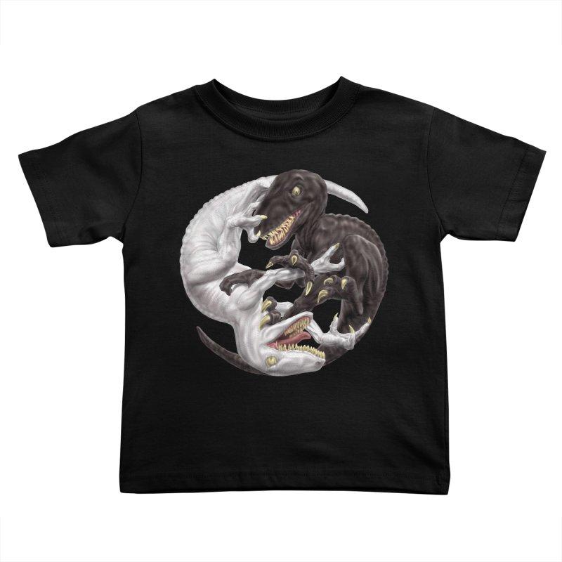 Yin Yang Raptors Kids Toddler T-Shirt by Ayota Illustration Shop