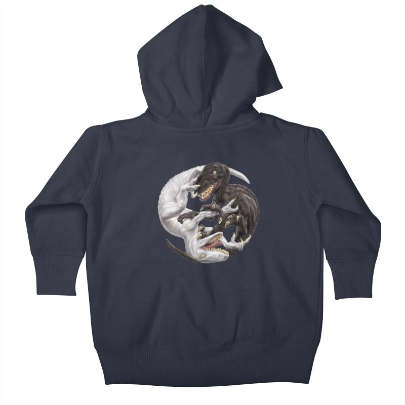 Yin Yang Raptors Kids Baby Zip-Up Hoody by Ayota Illustration Shop
