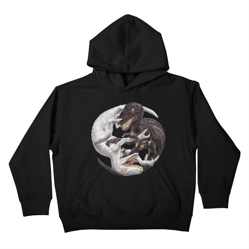 Yin Yang Raptors Kids Pullover Hoody by Ayota Illustration Shop