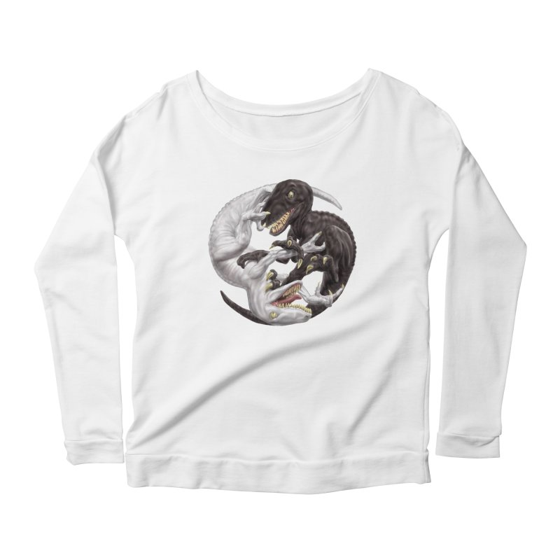 Yin Yang Raptors Women's Scoop Neck Longsleeve T-Shirt by Ayota Illustration Shop