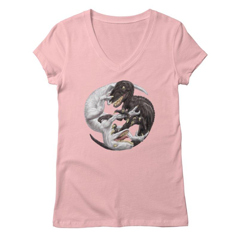 Yin Yang Raptors Women's V-Neck by Ayota Illustration Shop