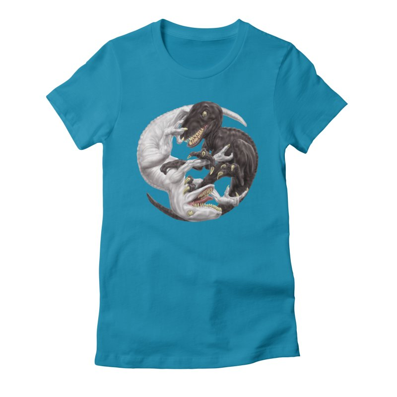 Yin Yang Raptors Women's Fitted T-Shirt by Ayota Illustration Shop