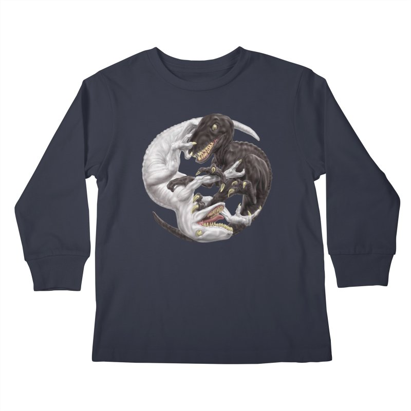 Yin Yang Raptors Kids Longsleeve T-Shirt by Ayota Illustration Shop