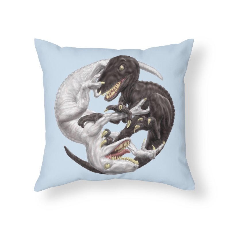 Yin Yang Raptors Home Throw Pillow by Ayota Illustration Shop