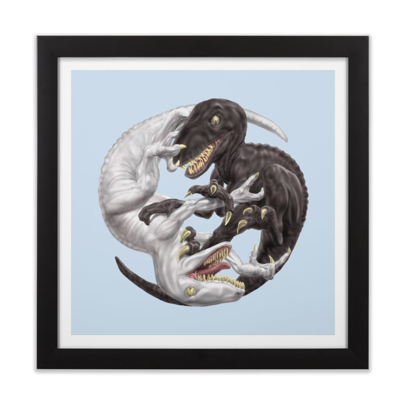 Yin Yang Raptors Home Framed Fine Art Print by Ayota Illustration Shop