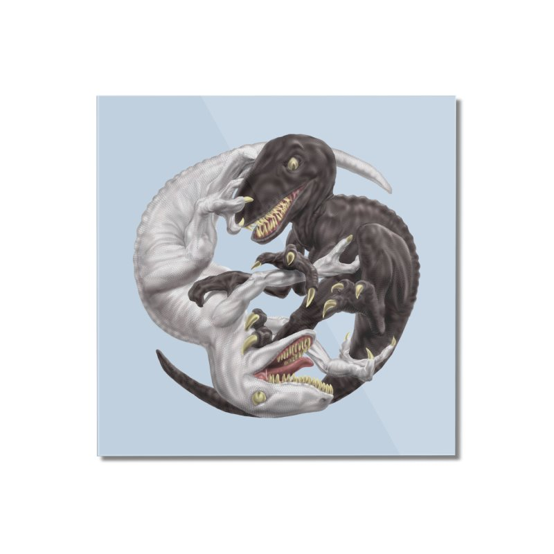Yin Yang Raptors Home Mounted Acrylic Print by Ayota Illustration Shop