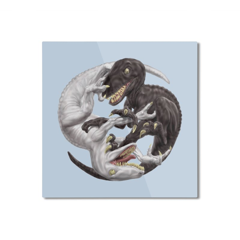 Yin Yang Raptors Home Mounted Aluminum Print by Ayota Illustration Shop