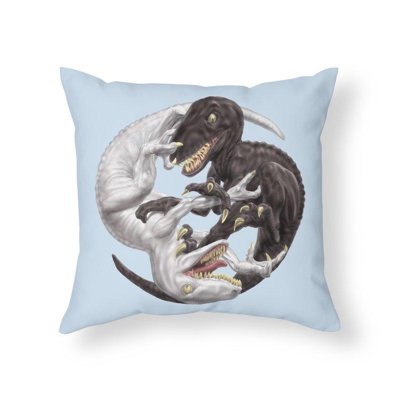 Yin Yang Raptors Home Throw Pillow by Ayota Illustration Shop