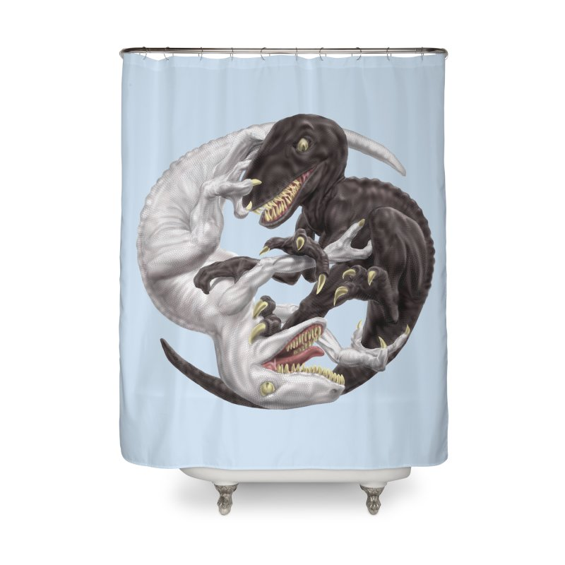 Yin Yang Raptors Home Shower Curtain by Ayota Illustration Shop