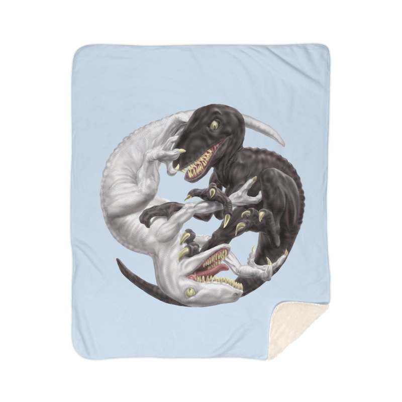 Yin Yang Raptors Home Sherpa Blanket Blanket by Ayota Illustration Shop