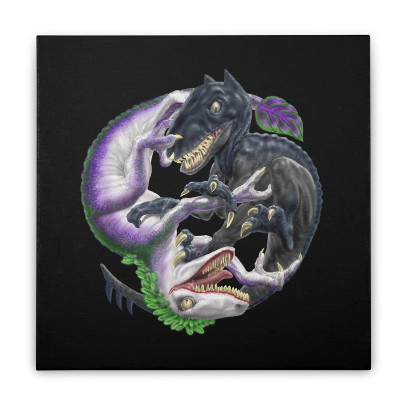 Darklaw vs the Laughing Lizard Home Stretched Canvas by Ayota Illustration Shop