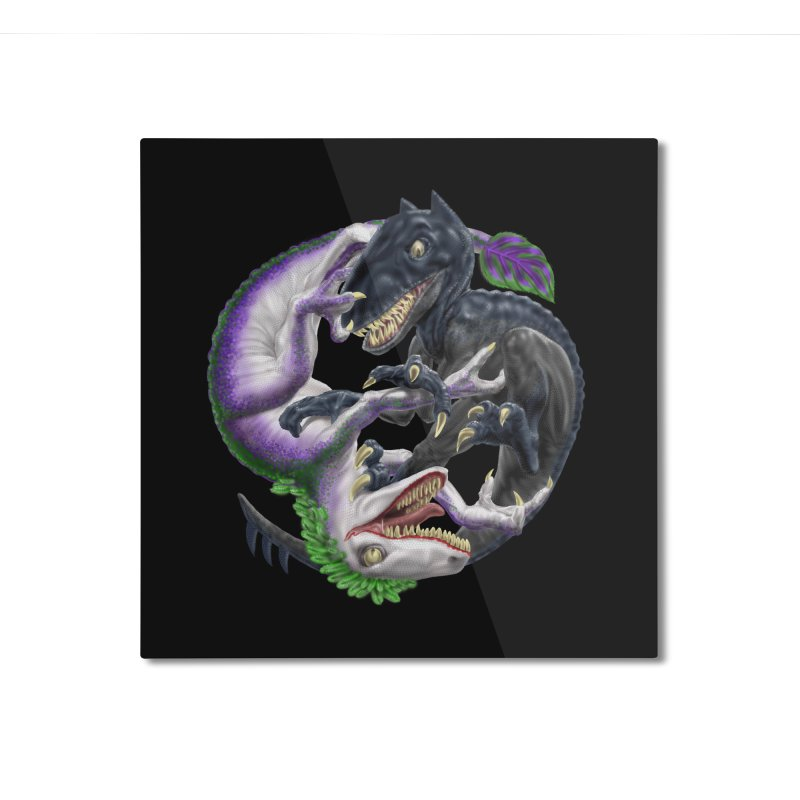 Darklaw vs the Laughing Lizard Home Mounted Aluminum Print by Ayota Illustration Shop