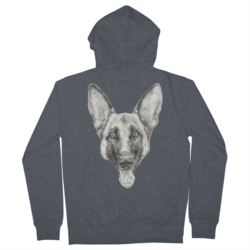Cleo, the German Shepherd Men's French Terry Zip-Up Hoody by Ayota Illustration Shop