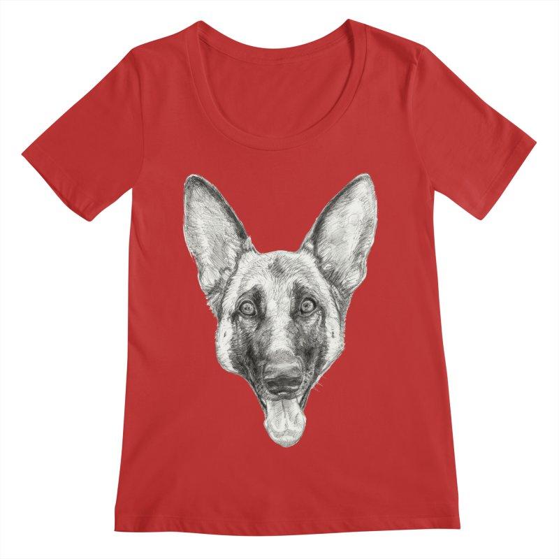 Cleo, the German Shepherd Women's Regular Scoop Neck by Ayota Illustration Shop