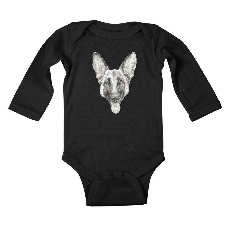 Cleo, the German Shepherd Kids Baby Longsleeve Bodysuit by Ayota Illustration Shop