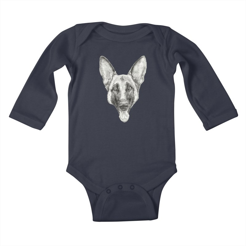 Cleo, the German Shepherd Kids Baby Longsleeve Bodysuit by Ayota Illustration Shop