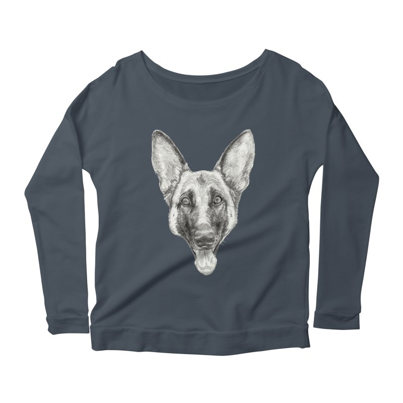 Cleo, the German Shepherd Women's Scoop Neck Longsleeve T-Shirt by Ayota Illustration Shop