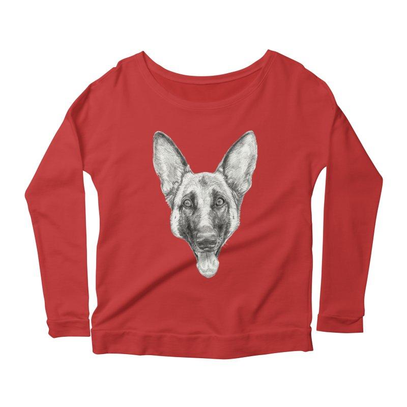 Cleo, the German Shepherd Women's Scoop Neck Longsleeve T-Shirt by Ayota Illustration Shop