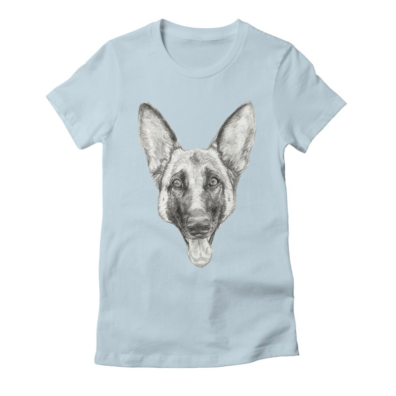 Cleo, the German Shepherd Women's Fitted T-Shirt by Ayota Illustration Shop