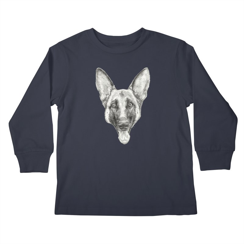Cleo, the German Shepherd Kids Longsleeve T-Shirt by Ayota Illustration Shop