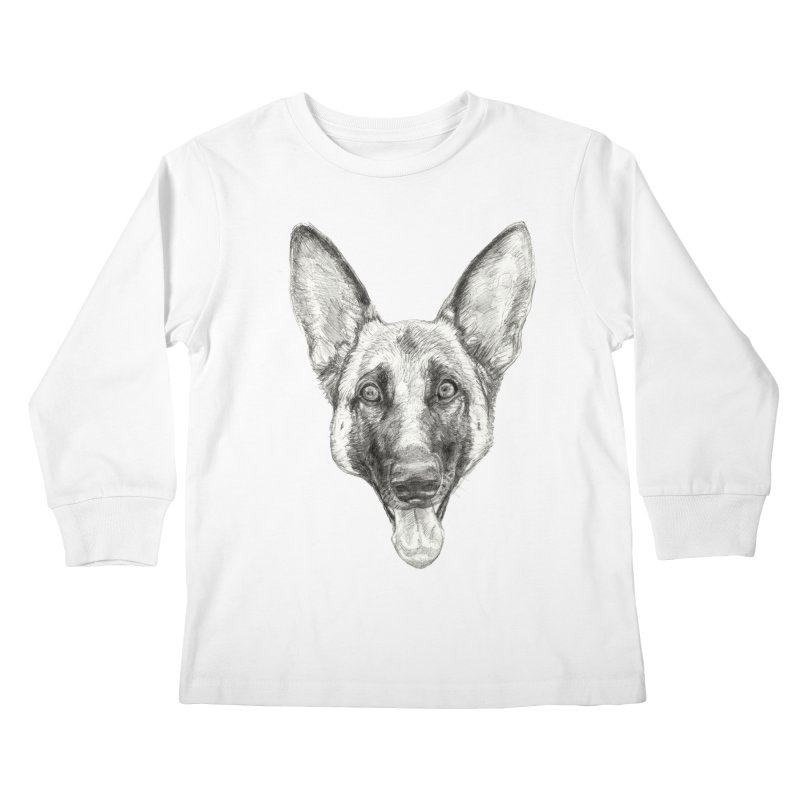 Cleo, the German Shepherd Kids Longsleeve T-Shirt by Ayota Illustration Shop